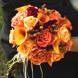 orange and red fall bridal bouquet