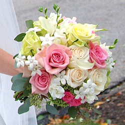 bridal bouquet pink ,white